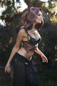 The Tribal Fusion Underbust Vest/Harness with DETACHABLE Hood in Metallic Copper with Red/Burgundy Lining (Size M). $110.00, via Etsy.