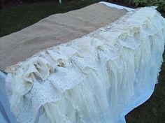 Hand made romantic burlap tattered table cloth by AnitaSperoDesign, $135.00