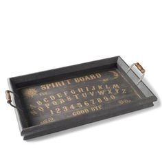 Calling All Spirits Gallery Tray by Grandin Road - love how this is fashioned to look like an Ouija Board! Halloween Table, Holidays Halloween, Halloween Crafts, Halloween Decorations, Halloween Party, Halloween Ideas, Halloween Tricks, Halloween Appetizers, Halloween 2013