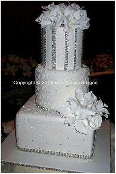 White silver wedding cake