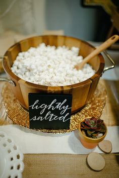 Popcorn bar! Styled by The Perfect Palette + Lauren Rae Photography