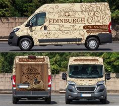 Design a show stopping Van Wrap for Edinburgh Tea and Coffee Co. Car, truck or van wrap contest design Van Signs, Eco Friendly Cars, Van Wrap, Lifted Ford Trucks, Design Graphique, Car Ford, Car Brands, Land Rover Defender, Concept Cars