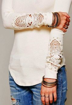 Adorable Crochet detail sleeve shirt fashion style