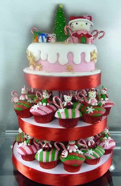 Hello Kitty Christmas Cupcake Tower: Cupcakes are delicious to eat and a best gifts to celebrate Christmas Party. Your kids and guests are surely going to love it.