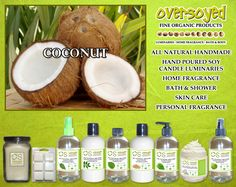 Coconut Product Collection - This scent is as refreshing as a ripe coconut on a desert island. #OverSoyed #Coconut #ExoticFruits #Exotic #Fruity #Fruit #Candles #HomeFragrance #BathandBody #Beauty