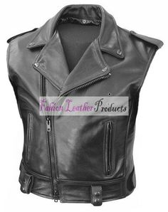 MEN'S CUSTOM-MADE  BLACK LEATHER VEST