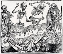 Danse Macabre is an artistic genre of late-medieval allegory on the universality of death: no matter one's station in life, the Dance of Death unites all. The Danse Macabre consists of the dead or. Hans Holbein, Dance Of Death, Medieval Times, Medieval Art, Medieval Drawings, Medieval Witch, Vanitas, Memento Mori Art, Tattoo Caveira