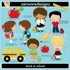Little school icons featuring boys, girls, and supplies  for the perfect back to school projects! This set is wonderful for       party  invitations, gift   bags and   more! The simple lines   are   great      for  embroidery  as  well! The glasses can be used on top of the character illustrations in EPS and PNG format only.