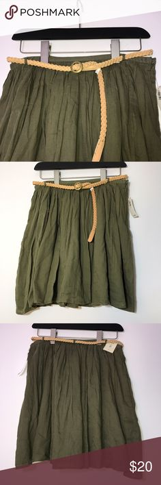 Old Navy Belted Flare Skirt New with tags. No damages, stains, or wearing. The light tan belt is included. The skirt is actually a double layer of 100% cotton. Flares very dramatically. The color is an olive green. Measurements in picture. Old Navy Skirts Mini