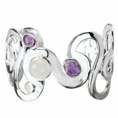 Sterling Chic Collection Moonstone and Amethyst Round Cuff Bracelet Jewelryimpressions. $566.76