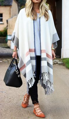 Long Stripe Poncho. #fall