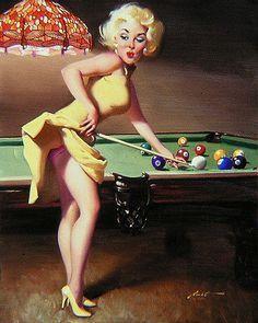 naked women felt Costum pool table