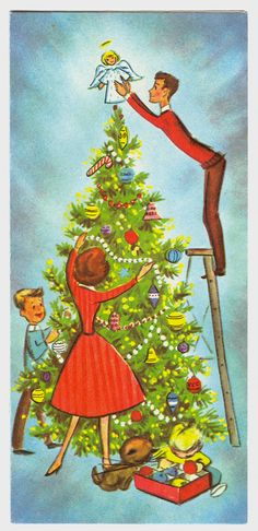 https://flic.kr/p/aB1WKf | Decorating the Tree | Marked AP (10x1204) Made In USA (not sure who or what  that would mean?)... Found this and the other card in an antique store in Seattle, and had meant to give them away, but couldn't bring myself to give this up..