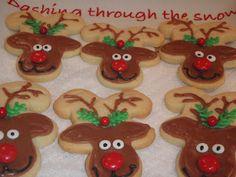 reindeer cookies made from upside down gingerbread man cutouts