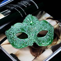 green lace - for our selection of lace and blank masks visit http://shop.vibesandscribes.ie/