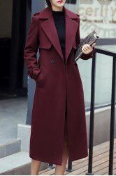 Casual Turn-Down Collar Long Sleeves Solid Color Worsted Coat For Women (WINE RED,XL) | Sammydress.com Mobile