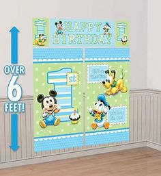 Disney 1st Birthday Baby Mickey Scene Setters Wall Banner Decorating Kit Birthday Party Supplies *** Want to know more, click on the image.