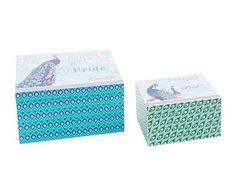 Set de 2 cajas de madera Pavo Real I. Caja grande: Largo: 22 cm Alto: 12 cm Ancho: 15 cm Caja pequeña:  Largo: 15 cm Alto: 9 cm Ancho: 11 cm 15€