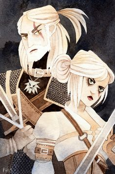 A little Witcher fan art on scrap paper… Geralt and Ciri. :)//EDITed Geralt's hair a bit.