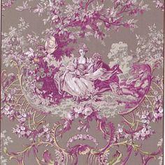 Tissu amoureux motif toile de jouy. en coton,dans les tons rose, marron... coupon 50x70cm