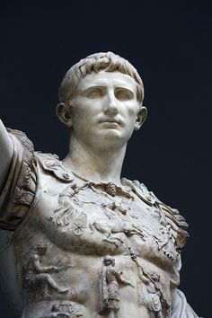 Augustus Ceasar of Prima Porta Musei Vaticani, Rome Angel Sculpture, Roman Sculpture, Greek History, My Family History, Italy Pictures, Classical Antiquity, Roman Emperor, Installation Art, Art Installations