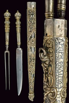 """Greek cutlery set (trousse), 18th century, knife with single-edged iron blade marked with a cross, knotted, provided with silver grip decorated with rings and cap with foliage with button. One iron fork with two prongs, provided with short neck, the grip en suite with the knife one. Together in a single, silver sheath decorated with relieved floral motifs and smooth, nielloed elements, on a side an inscription in Greek characters and the date """"1775"""", both nielloed, length 26 cm."""