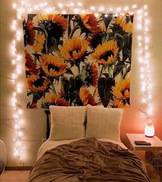 Get the Summer Flower Tapestry while it's still in stock! Room Wall Decor, Bedroom Decor, Bedroom Ideas, Bedroom Styles, Teen Bedroom, Bedroom Wall, Sunflower Room, Blanket On Wall, Hanging Fabric