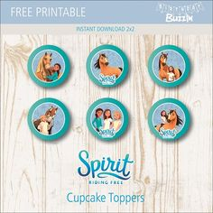 """Use these free printable Spirit Riding Free cupcake toppers to make decorations for themed cupcakes. If you are planning to throw a Spirit Riding Free birthday party, you can't go wrong with cupcake treats for guests to enjoy. Hi there! This template is totally free so you can easily click the """"add to cart"""" button …"""