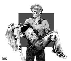 Julian carrying Emma into the institute.