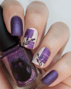 Fall Leaf Nail Art Designs - Fall leaves on nails right now are super-trendy. We searching for 150 best examples. Be ready to get inspiration! Nail Polish Designs, Nail Art Designs, Nails Design, Violet Nails, Long Gel Nails, Nail Effects, Hot Nails, Beautiful Nail Designs, Artificial Nails