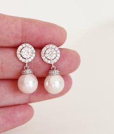 14948476274d Pendientes de novia perla perla pendientes de boda joyería