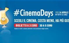 Nuova edizione di #Cinemadays con spettacoli a 3 e 5 euro Dall'11 al 14 aprile 2016 torna #Cinemadays, la manifestazione che permette di andare al cinema ad un prezzo ridotto di 3 euro per le proiezioni classiche e di 5 euro per quelle in 3D. #cinemadays #milano #cinema