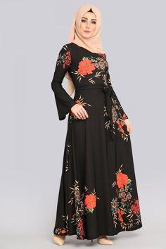 ** YENİ ÜRÜN ** Volan Kol Elbise Siyah&Nar Çiçeği Ürün kodu: TKM2567 --> 44.90 TL
