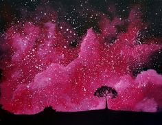 Learn to Paint Starlit Splash tonight at Paint Nite! Space Painting, Painting & Drawing, Watercolor Paintings, Watercolour, Watercolor Galaxy, Galaxy Painting, Cast Art, Pink Galaxy, Simple Art