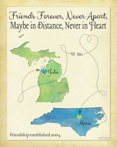 Long Distance Best Friend Gift Moving Away Gift by KeepsakeMaps