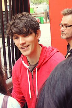 Colin Morgan (Ariel in The Tempest) signing for fans outside The Globe Theater 2013.