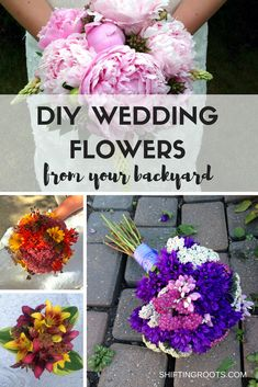You can save money and make beautiful wedding flowers from your backyard. Lots of inspiration and links to tutorials. Beautiful options for spring, summer, and fall weddings.