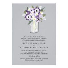 Mason Jar Floral   Wedding Announcement