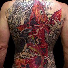 Koi Fish Full Back Tattoo Designs