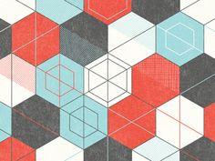 nate luetkehans geometric pattern hexagons red black aqua teal turquoise
