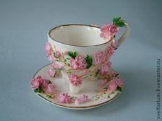 Чайная пара Багульник. - розовый,чашка с блюдцем,багульник,фарфор,Керамика