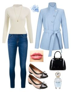"""pastel coat outfit"" by mayraliz on Polyvore featuring Hobbs, Frame Denim, Clarks, Relaxfeel, LASplash, Marc Jacobs, Michael Kors, women's clothing, women's fashion and women"