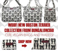 These cute vegan bags and vegan wallets from eco happy Bungalow360 feature cute Boston Terriers and make a great valentine's day gift for dog lovers!  These canvas wallets and canvas bags feature cute red lining with white polka dots.