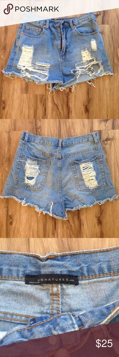 """Vintage Distressed High Waisted Shorts These denim shorts are vintage super cute and comfortable. The last picture shows the waist line which is quite high. Love these shorts it's just time to part with them. The tag only says """"large"""" I would say true to size maybe a little smaller since sizing is vintage. NOT BRANDY MELVILLE Brandy Melville Shorts Jean Shorts"""