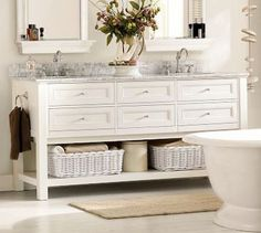 New bathroom sink cabinet carrara marble ideas Bathroom Sink Cabinets, Diy Bathroom Vanity, Bathroom Wall Decor, Bathroom Layout, White Bathroom, Bathroom Storage, Small Bathroom, Neutral Bathroom, Large Bathrooms