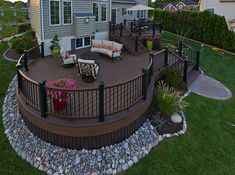 Is home landscaping different than other landscaping? Backyard Patio Designs, Backyard Landscaping, Landscaping Ideas, Landscaping Around Deck, Decking Ideas, Railing Ideas, Backyard Ideas, Terrasse Design, Deck Colors