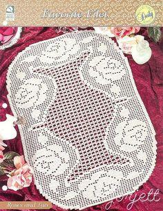 Roses and Lace Runner, Favorite Filet crochet pattern #HouseofWhiteBirches #Runner