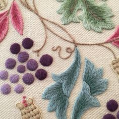 Crewel Kit Grapevine And Pippins, Crewel Embroidery Kit Grapevine And Pippins, Crewelwork embroidery kit Grapevine And Pippins Crewel Embroidery Kits, Japanese Embroidery, Vintage Embroidery, William Morris, The Royal School, Christmas Stocking Kits, Sweet Sundays, Textiles, Weaving Techniques