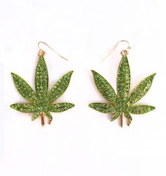 Weed Earrings | Patricia Field Patricia Field, Gussied Up, Mary Janes, Brooch, Drop Earrings, Christmas Ornaments, My Style, Holiday Decor, Ganja