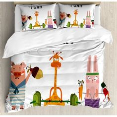Fitness King Size Duvet Cover Set, Cute Pig Rabbit and Giraffe Exercise Summer is Coming Fitness Motivation Yes I Can, Decorative 3 Piece Bedding Set with 2 Pillow Shams, Multicolor, by Ambesonne Cute Duvet Covers, Queen Size Duvet Covers, Duvet Cover Sets, Cute Pigs, Bed Linen Sets, Cotton Sheet Sets, Quilt Sets, Comforter Sets, Luxury Bedding